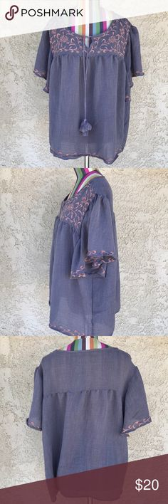"""Araxa Peasant Top 100% polyester   Peasant top with embroidered details in great condition.  Length: 26"""" Pit to pit: 26"""" Araxa Tops Blouses"""