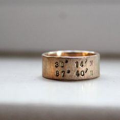 Rustic Solid Gold Latitude Longitude Wedding Band Ring on Etsy, $925.00