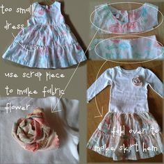 old dress into new skirt & fabric flower (for shirt) -- super fast, free, easy tutorial from CampClem blog