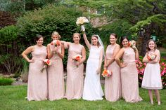 Wedding at Villa Christina in Atlanta, Georgia by www.oncelikeaspark.com.  Bride and bridesmaids portrait