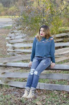 Timeless Optimist blog | fall fashion look: blue crop sweatshirt + skinny jeans + tan booties