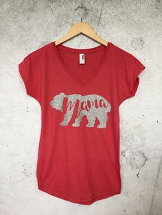 Mama Bear V-neck T-shirt, Mom To Be Shirt, Baby Shower Gift, Gift for Mom, Gift for Wife