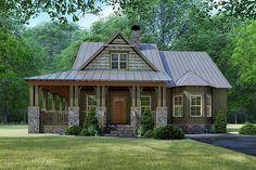 Rustic House Plans, Craftsman House Plans, Craftsman Style, Small Rustic House, Country Home Plans, Cool House Plans, Unique Small House Plans, Stone House Plans, Rustic Houses