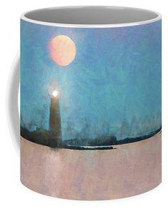 Digital painting of Maine Lighthouse Coffee Mug by Jeff Folger. Lighthouse Drawing, Maine Lighthouses, Mugs For Sale, Super Moon, Full Moon, Mystic, Photographers, Coffee Mugs, Vase