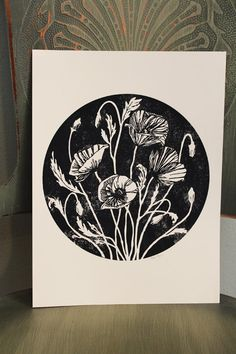 poppy screen print art - the hungry fox