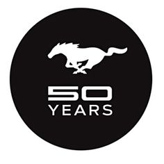 """Mustang 50 Years 3"""" Round Decal (2889), $4.95 (http://store.roushcollection.com/stocking-stuffers/mustang-50-years-3-round-decal-2889/)"""