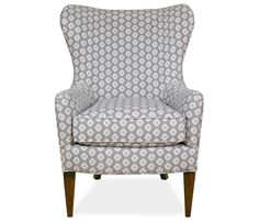 Anya Chair - The bold transitional styling of the Anya wing chair is sure to add interest to any space. Stocked in a gray and cream geometric pattern fabric with welt