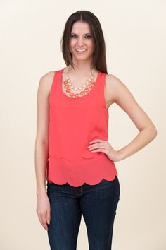 Gorgeous Coral Top - open back, with scalloped edges all the way around @ Muse Boutique