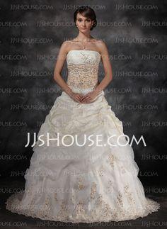 Wedding Dresses - $249.99 - Ball-Gown Strapless Chapel Train Taffeta Organza Wedding Dresses With Ruffle Lace Beadwork (002017434) http://jjshouse.com/Ball-gown-Strapless-Chapel-Train-Taffeta-Organza-Wedding-Dresses-With-Ruffle-Lace-Beadwork-002017434-g17434