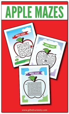 Free Apple Mazes | Three levels of difficulty | #free #fallactivities #printables || Gift of Curiosity Creative Activities For Kids, Kids Learning Activities, Autumn Activities, Creative Kids, Projects For Kids, Hands On Learning, Kindergarten Classroom, Worksheets For Kids, Creative Thinking