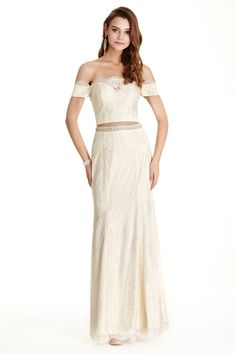 Lace Evening Dress APL1759.  Two Piece Set Full Length Lace Evening Dress has Cropped Bodice with Strapless Neckline and Low Back with Zipper Closure. Flowing Long Skirt with Beading Embellished Waistline Completes the Style.  https://www.dresstopic.com/evening-dresses/lace-evening-dress-apl1759