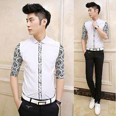 2014 Men Stylish Floral Splicing Half Sleeve Fancy Shirt Slim Fit Good Quality Vintage Dress Shirt $26.99