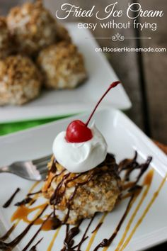 Vanilla Ice Cream, whipped topping and a sprinkle of cinnamon are scooped into balls, then rolled in a mixture of fried cinnamon cereal and butter. Served with a dollop of whipping cream, a drizzle of caramel and hot fudge ice cream topping and a cherry on top. Be sure to save the recipe for later by pinning to your Recipe Board!