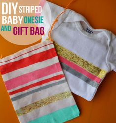 DIY Striped Baby Onesie and Gift Bag