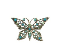 $84.0 Amaro Jewelry Studio 'Ocean' Collection 24K Rose Gold Plated Butterfly Brooch Set with Turquoise and Swarovski CrystalsFrom Amaro $84.0