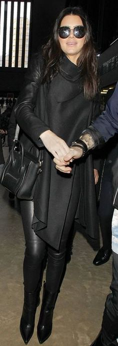 Kendall Jenner: Coat – Kendall Jenner  Shoes and purse – Celine