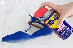 Uses for WD-40 Spray a bit of WD-40 onto a clean, dry cloth, and buff the outside of your shoes. This will also remove any salt stains you may have gotten during the winter!