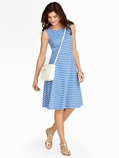 Talbots - Edie Fit-And-Flare Zigzag Ikat Dress | | Misses Discover your new look at Talbots. Shop our Edie Fit-And-Flare Zigzag Ikat Dress for stylish clothing and accessories with a modern twist at Talbots