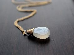 White+Stone+Necklace+Gold+Filled+Pearl+White+by+SaressaDesigns,+$45.00