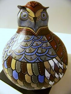 Owl Totem Painted Gourd Sculpture named Night Vision by Jeanne Fry