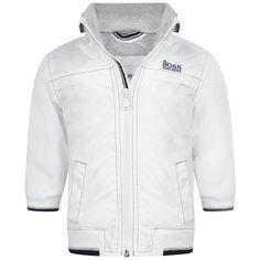 BOSS Baby Boys White & Navy Trim Jacket