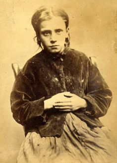 From an amazing series of photographs of convicted criminals in Newcastle between 1871 - 1873.  Jane Farrell stole 2 boots and was sentenced to do 10 hard days labour. She was 12.