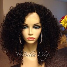 """FRONT VIEW.  TreBella closure unit. Specs:  @glamourhouseofhair (GHOH) kinky curly in 16 and 18 inch, with lace closure in 12inch.  I think this is """"Passion"""" and it is gorge!"""