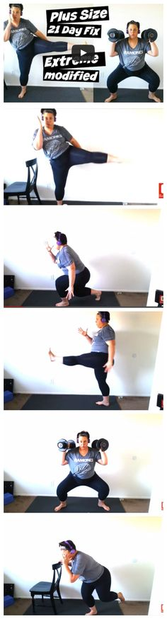 Plus Size 21 Day Fix Extreme Workout Modification.   This is how I modify the workouts at my ability and challenge it. This is not a video lesson on proper form, it is an example of how far I have come from when I started at over 330 lbs. and unable to lunge or squat. This video is FULL of modifications that can be used in programs like 21 Day Fix, P90X, Insanity Max :30, and Extreme.  - CLICK PICTURE to WATCH full video  - #plussize #workout #exercise #modification #weightloss #results