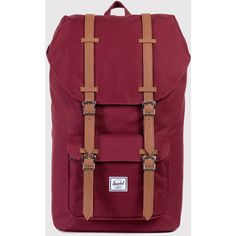 Herschel Supply Little America Backpack - Windsor Wine/Tan (£85) ❤ liked on Polyvore featuring bags, backpacks, rucksack bag, herschel backpack, wine backpack, wine bag and canvas backpack