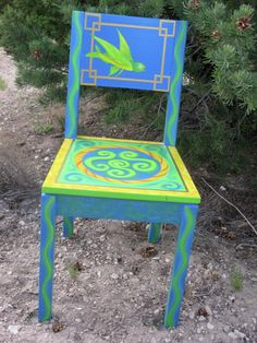 Whimsical Painted Furniture | Pisces Hand Painted Chair - BLUEWING DESIGN - Driftwood Furniture ...