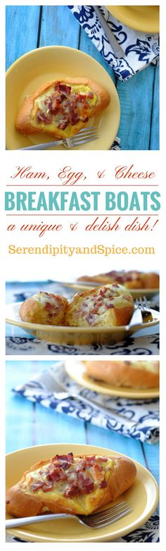 Ham Egg and Cheese Breakfast Boats Recipe-- a fun and unique breakfast recipe the whole family will love! #brunch #brunchideas #breakfast #breakfastrecipes #eggs #cheese #easyrecipe #recipe #delicious #healthyeating