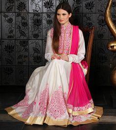 Off White Chanderi Anarkali Suit with Reverse Applique