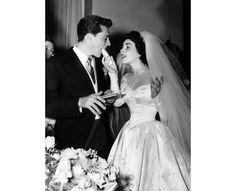 Elizabeth Taylor et Conrad Hilton lors de leur mariage à Los Angeles.