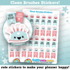 One sheet of 48 cute little make-up bags and clean brushes flag stickers and, perfect for your planner! A cute way to remind you to clean your