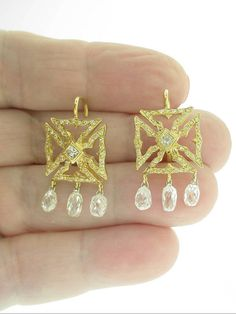 LOREE RODKIN 18K YG DIAMOND CROSS EARRINGS W/ BRIOLETTE DIAMOND DROPS