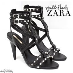 """ZARA studded heels NEW in box, never worn and in excellent condition. studded straps add a punk rock look to these bad boys  size- 6 heel height- 4.25""""  due to lighting- color of actual item may vary from photos.  please don't hesitate to ask questions. happy POSHing    use offer feature to negotiate price on single item  i do not trade or take any transactions off poshmark, so please do not ask. Zara Shoes Heels"""