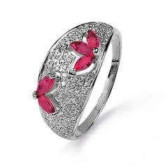 Diamond & Ruby Flowers White Gold Ring BLESK - Fine Russian Jewellery