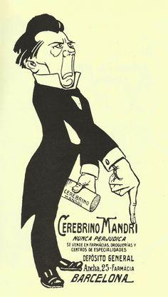 """""""Cerebrino MANDRI"""" detall publicitat 1914. autor: Gaietà Cornet. Catalunya"""