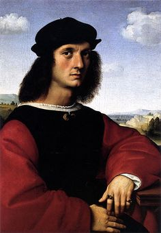 Artist 	  Raphael (1483–1520) Link back to Creator infobox template wikidata:Q5597  Title 	Portrait of Agnolo Doni  Date 	circa 1506  Medium 	oil on panel  Dimensions 	63 × 45 cm (24.8 × 17.7 in)  Current location 	Florence, Palazzo Pitti, Galleria Palatina