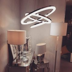Modern LED Crushed Ice Ceiling light paired with Contemporary Chrome Table Lamps