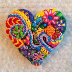 Freeform embroidery heart brooch Brooch #105 | Embroidery hearts ...