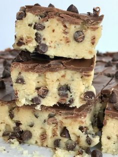 If your favorite part of making cookies is the dough then you will LOVE these no bake chocolate chip cookie dough bars! Such a fun & sweet dessert recipe that will satisfy any sugar or cookie dough craving.
