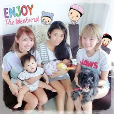 "@cheesie チージー: ""3 mommies and 3 boys . And Happy Father's Day!♡♡♡"" OMG I CAN'T HELP BUT STARE AT THE FUNNY DOG ON THE RIGHT"
