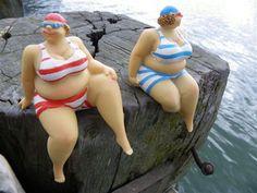 Large Ladies in Swimming Costume Grappig voor in de badkamer of bij de vijver...