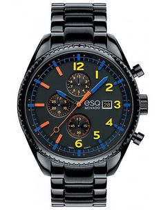 ESQ Movado Catalyst Mens Chrono - Black Dial with Contrasting Accents - Black IP