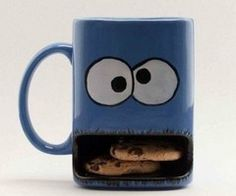 Someone buy me this coffee mug. 3 of my fav things all in one. Cookie monster, cookies and coffee.