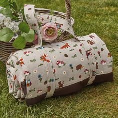 Waterproof backed picnic blanket in woodland creature print cotton Family Picnic, Cold Temperature, Antique Roses, Woodland Creatures, Make And Sell, Dog Love, Printed Cotton, Really Cool Stuff, Annie