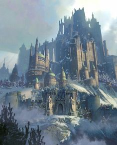 Mountain castle Fantasy art landscapes Fantasy city Fantasy concept art