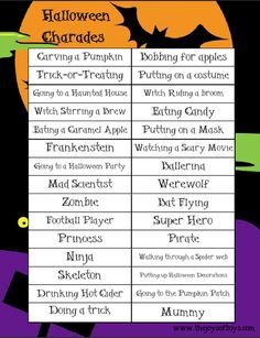 Halloween Charades from The Joys of Boys {Featured on OneCreativeMommy.com | Fantastic Halloween Class Party Ideas}