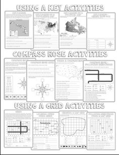 Here\'s a set of foldables for reviewing features of maps ...